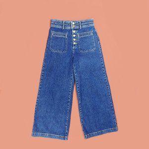 Free People Colette wide leg cropped blue jeans